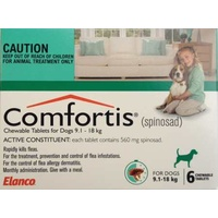 COMFORTIS TAB 9.1-18KG 560MG 6 CHEWABLE GREEN DOG