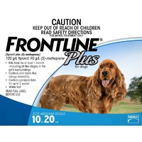 FRONTLINE PLUS DOG 10-20KG BLUE 6'S