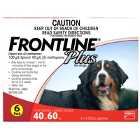 FRONTLINE PLUS DOG 40-60KG RED 6'S