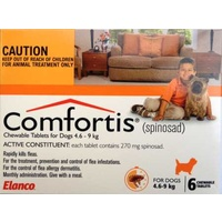 Comfortis Chewable Flea Control Tablet for Dogs 4.6-9kg (Orange) - 6-Pack