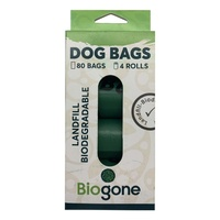 Bio-Gone Biodegradable Dog & Cat Poo Bags - 4 rolls/80 bags NEW PACKAGING