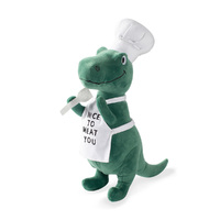 Fringe Studio BBQ Rex T-Rex Chef Plush Squeaker Dog Toy