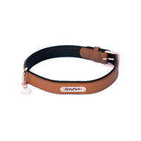 Zippy Paws Leather Dog Collar with Rose Gold Buckle - Brown [Size: Extra Large]