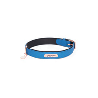 Zippy Paws Leather Dog Collar with Rose Gold Buckle - Cobalt - Large