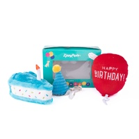 Zippy Paws Birthday Box with Cake, Balloon & Party Hat
