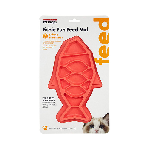 Petstages Fishie Fun Feed Mat Wet and Dry Slow Food Bowl for Cats - Pink