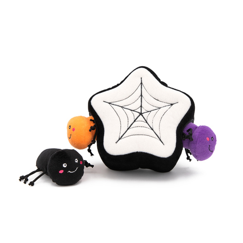 Zippy Paws Halloween Burrow Interactive Dog Toy - 3 Squeaker Spiders in a Spiderweb