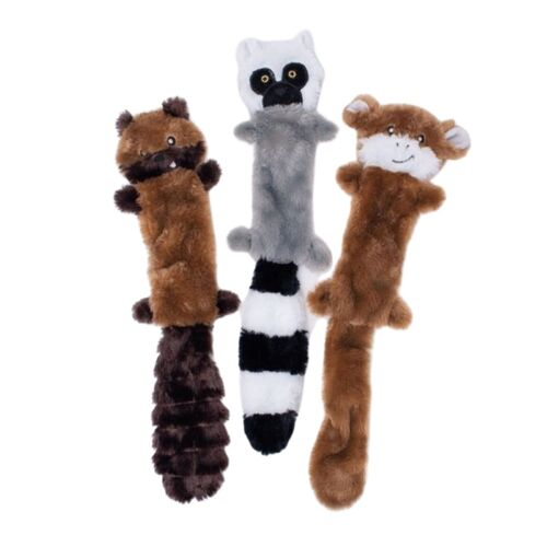 Zippy Paws Skinny Peltz No Stuffing Squeaker Dog Toy-  Chipmunk, Lemur & Monkey 3-Pack